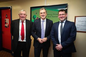 Press Eye - Belfast - Northern Ireland - 10th January 2020 -    Secretary of State for Northern Ireland Julian Smith is pictured meeting  John Watson, Chairman of the Board of Governors, left, and principal Graham Gault during a visit to Maghaberry Primary School in County Antrim this morning.   Photo by Kelvin Boyes  / Press Eye.