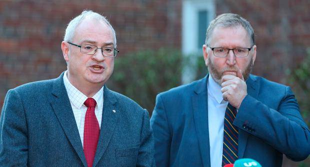 The UUP's Steve Aiken and Doug Beattie arriving for talks to restore the Northern Ireland powersharing executive at Stormont in Belfast. Monday, December 16