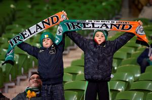 Young Ireland supporters show their support ahead of the UEFA Euro 2016 Qualifying Playoff second leg at the Aviva Stadium, Dublin. PRESS ASSOCIATION Photo. Picture date: Monday November 16, 2015. See PA story SOCCER Republic. Photo credit should read: Martin Rickett/PA Wire. RESTRICTIONS Editorial use only, No commercial use without prior permission, please contact PA Images for further information: Tel: +44 (0) 115 8447447.