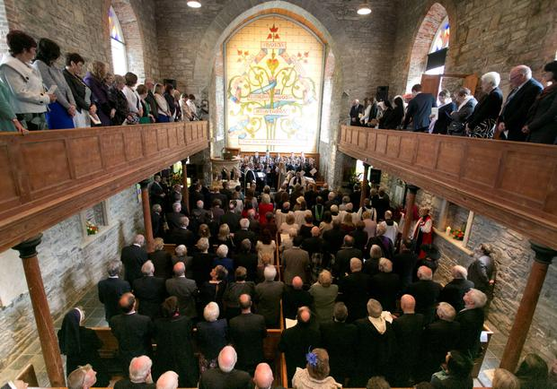 A peace and reconciliation prayer service at St. Columba's Church in Drumcliffe attended by the The Prince of Wales and the Duchess of Cornwall on day two of a four day visit to Ireland. PRESS ASSOCIATION Photo. Picture date: Wednesday May 20, 2015. See PA story ROYAL Ireland. Photo credit should read: Colm Mahady/PA Wire
