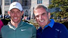 Missing out: Paul McGinley and Rory McIlroy