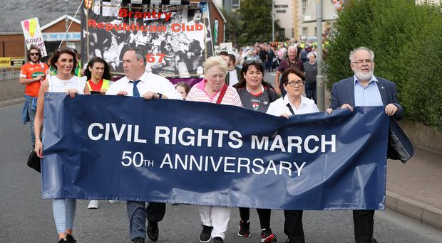 4th form the left, Michelle Gildernew and far right, Francie Molloy. A Sinn Féin organised Civil Rights March from Coalisland to Dungannon took place on the 18th August 2018. Credit: Press Eye - Declan Roughan
