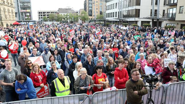 General view of the March For Their Lives rally which has been organised by Precious Life in Belfast City Centre. Photo by Declan Roughan / Press Eye.