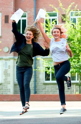 Picture - Kevin Scott / Belfast Telegraph  Belfast - Northern Ireland - Thursday 13th August 2015 - A Level Results Day   Pictured is Orla McCusker, Aine Black during A level results day at St Dominics  Picture - Kevin Scott / Belfast Telegraph