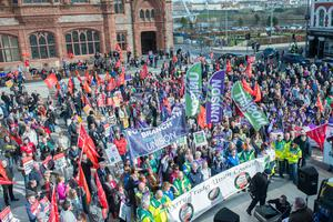 Trade Union members who took part in Friday's strike in Derry. Picture: Martin McKeown