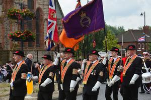 Pacemaker Press Belfast 12-07-2016: Thousands of Orange Order members are taking part in parades across Northern Ireland. The 12th of July parades mark the 326th anniversary of King William III's victory at the Battle of the Boyne in 1690. A total of 18 demonstrations are being held in towns and cities. Orange Order members pictured during the Belfast parade. Picture By: Arthur Allison /Pacemaker.