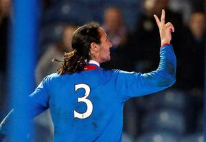 Rangers' Bilel Mohsni celebrates his second goal during the Scottish League One match at Ibrox, Glasgow.