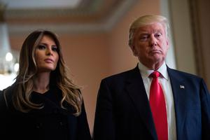 US President-elect Donald Trump and his wife Melania take a question from the press after a meeting with Senate Majority Leader Mitch McConnell at the Capitol in Washington, DC, on November 10, 2016 / AFP PHOTO / NICHOLAS KAMMNICHOLAS KAMM/AFP/Getty Images