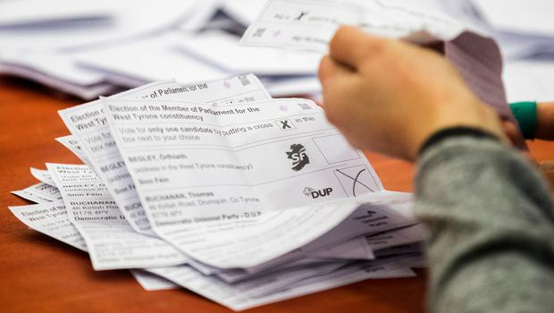 Election staff count ballot papers at Omagh Leisure Complex for the West Tyrone Westminster by-election, triggered when the last MP quit amid claims he mocked victims of the Northern Ireland Troubles. Liam McBurney/PA Wire