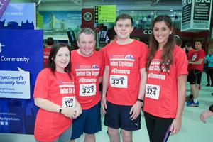 GRANT THORNTON RUNWAY RUN SCALES NEW HEIGHTS Anna Connor, Richard Bullick, Matthew Morrison and Nicole Hollinger get warmed up for last nightÕs Grant Thornton Runway Run at Belfast City Airport. The hugely-popular event attracted a record number of runners as 600 local businessmen and women took part in the 5k run on the tarmac of the airport. Teams of four from organisations across a wide range of sectors came together for the third year of the leading business advisory firmÕs event. Ê