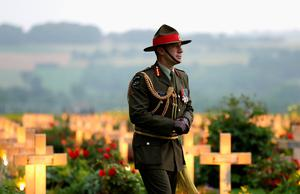 THIEPVAL, FRANCE - JUNE 30:  Major General Peter Kelly, Head of the New Zealand Forces takes part in a vigil at Thiepval Memorial to the Missing of the Somme during Somme Centenary Commemorations on June 30, 2016 in Thiepval, France.  (Photo by Chris Jackson/Getty Images)