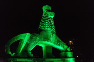 The Lion of Judah monument in Addis Ababa, Ethiopia, was illuminated in green (Tourism Ireland/PA)
