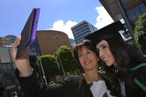 HARRISON PHOTOGRAPHY - BELFAST - 1st July 2016 Graduating from Ulster University today with a degree in Accountancy is Megan Duff with her aunt Lidia McGowan