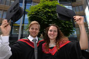HARRISON PHOTOGRAPHY - BELFAST - 1st July 2016 Graduating from Ulster University today with a degree in Electrical Engineering are Patrick Gunderlach and Malaika Kress from Germany