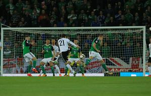 Pacemaker Belfast 5-10-17 Northern Ireland v Germany - World Cup Qualifier Group C Germany's Sebastian Rudy scores his goal during this evening's game at the National Stadium, Belfast.  Photo by David Maginnis/Pacemaker Press