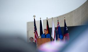SHANKSVILLE, PA- SEPTEMBER 10: US Interior Secretary Sally Jewell speaks at the visitor center at the Flight 93 National Memorial on September 10, 2015 in Shanksville, Pennsylvania. The newly opened $26 million visitor center complex was dedicated in honor of the victims of Flight 93 on the evening of the 14th anniversary of the 9/11 attacks. (Photo by Jeff Swensen/Getty Images)