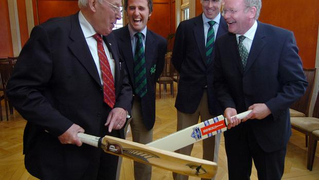 Pacemaker Press International Belfast 12/7/2007. HOWZAT!? First and Deputy First Ministers Ian Paisley and Martin McGuinness pictured this evening with Ireland's cricket captain Trent Johnston and spin bowler Kyle McCallen. The Irish cricket side were at Parliment Buildings in honour of their heroic exploits at the Cricket World Cup. Picture Charles McQuillan/Pacemaker.