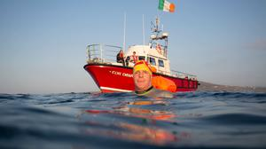 Henry O'Donnell on day one of finswim 2020, his expedition to fin swim around Ireland (Rory O'Donnell/PA)