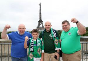 Northern Ireland fans Robert McCreadie, Aaron Baxter, Craig Baxter and Farquhar in Paris where Northern Ireland will play their final Euro 2016 group game against Germany at the Parc des Princes.