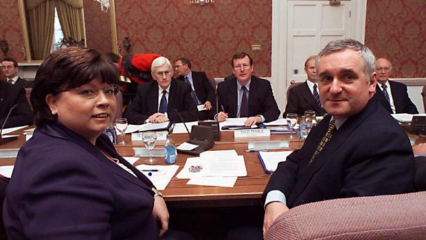PACEMAKER BELFAST 13/12/99 First Minister David Trimble and  Dep First Minister Seamus Mallon sit opposate Mary Harney Taoinshada and the Taoiseah Bartie Ahern at the Historic first meeting of the North South Ministerial Council in Armagh today. Picture Pacemaker