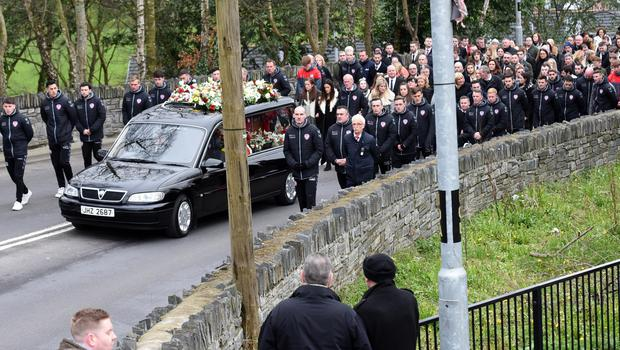 Pacemaker Press 23/3/2017  The Funeral of Derry City Player Ryan McBride takes place at St Columba's Church in Derry on Thursday. The 27-year-old footballer was found dead at home on Sunday, a day after he led his side in a 4-0 League of Ireland win over Drogheda United. Pic Colm Lenaghan/Pacemaker