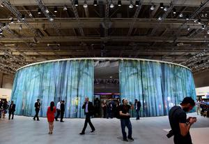 Visitors stand in front of the booth of South Korean electronics giant Samsung ahead of the opening of the 55th IFA (Internationale Funkausstellung) electronics trade fair in Berlin on September 3, 2015. IFA, Europe's largest consumer electronics and home appliances fair opens from September 4 to September 9, 2015. AFP PHOTO / JOHN MACDOUGALLJOHN MACDOUGALL/AFP/Getty Images