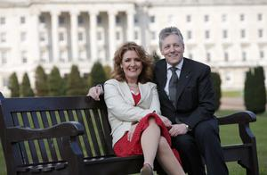 DUP leader Peter Robinson with his wife Iris Robinson pictured at Parliament Buildings, Stormont, April 18 2008