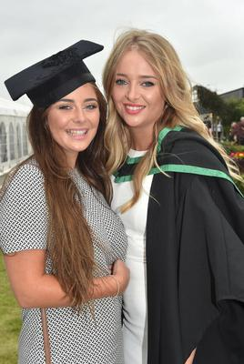 Ulster University Graduations-Coleraine Capmpus-05-07-15 Amy Thompson and Kerry Thompson who graduated in Psychology. Photo by Simon Graham/Harrison Photography