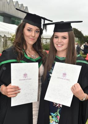 Ulster University Graduations-Coleraine Capmpus-05-07-15 Lisa Patterson who graduated in Geography and Business and Aoife McGlynn who graduated in Geography. Photo by Simon Graham/Harrison Photography