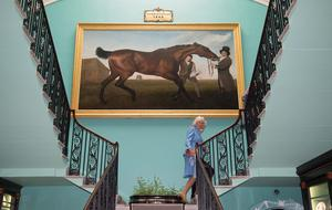 "ANTRIM, NORTHERN IRELAND - MAY 22:  Camilla, Duchess of Cornwall with the famous ""Hamiltonian"" by George Stubbs as she visits Mount Stewart House and Garden on May 22, 2015 in Newtownards, Northern Ireland. Prince Charles, Prince of Wales and Camilla, Duchess of Cornwall visited Mount Stewart House and Gardens and Northern Ireland's oldest peace and reconciliation centre Corrymeela on the final day of their visit of Ireland.  (Photo by Eddie Mulholland - Pool/Getty Images)"
