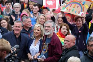 Sinn Fein leaders Gerry Adams and Michelle O'Neill at a march calling for a law change in Northern Ireland allowing gay marriage. The march was organised by Love Equality Campaign. Photo by Kelvin Boyes / Press Eye.