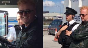 Chris Evans behind the wheel of a PSNI Land Rover