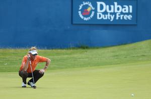 Press Eye - Belfast - Northern Ireland - 8th July 2017   Day three of the Dubai Duty Free Irish Open Hosted by the Rory Foundation at Portstewart Golf Club, Co.Derry / Co. Londonderry, Northern Ireland.  Miguel Angel Jiménez on the 18th green  Picture by Matt Mackey / presseye.com
