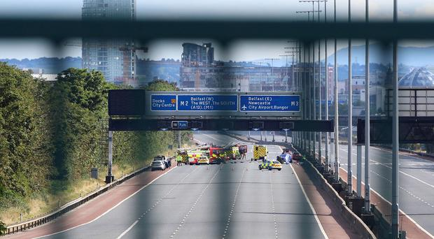 M2 closed in both directions following a five-vehicle crash on the southbound side of the motorway. Presseye Cliff Donaldson