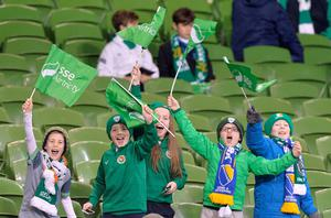 Young Ireland supporters show their support ahead of the UEFA Euro 2016 Qualifying Playoff second leg at the Aviva Stadium, Dublin. PA