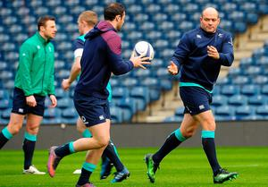 Ireland's hooker and captain Rory Best (R) attends the captain's run training session at Murrayfield Stadium in Edinburgh, on February 3, 2017, on the eve of the Six Nations rugby union match between Scotland and Ireland.  / AFP PHOTO / Andy BuchananANDY BUCHANAN/AFP/Getty Images