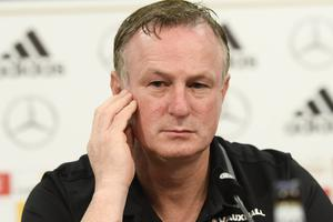 Northern Ireland Manager Michael O'Neill  during a Press conference at the Hannover Arena in Hannover, ahead of Northern Ireland's World Cup Qualifier against Germany on Tuesday evening. Photo Colm Lenaghan/Pacemaker Press