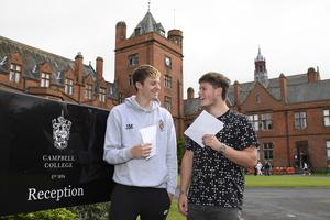 15/8/19: CAMPBELL COLLEGE CELEBRATES BEST RESULTS IN OVER A DECADE Campbell College Belfast today celebrated their best A Level results in fifteen years with 66% of students achieving three or more A*-C grades. 84% of all grades awarded were at A*-C level and 28% of all grades achieved were an A*/A grade. Pictured are Jack Megarry (left) and Harry Owens (right). Picture: Michael Cooper