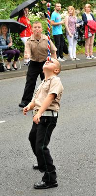 PACEMAKER BELFAST  13/07/2015 12th July celebrations in Derriaght/Dunmurry today A young band leader shows his skills