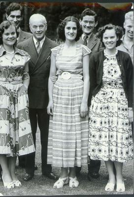 Patricia Curran (centre) who was brutally murdered in the grounds of the family's Whiteabbey home, Glen House, in November 1952.