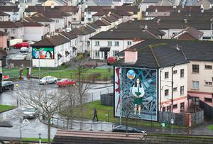 Murals in the bogside area of Londonderry after the death of Northern Ireland's former deputy first minister and ex-IRA commander Martin McGuinness aged 66.  Niall Carson/PA Wire