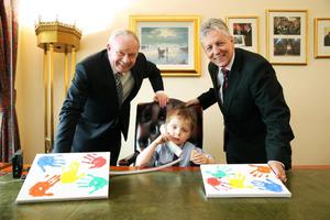 Monday 1st July  2013 - Oscar Knox took over the offices of First Minister Peter Robinson and deputy First Minister Martin McGuinness at Parliament Buildings