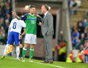 PACEMAKER BELFAST   08/10/2016 Northern Ireland v San Marino World Cup Qualifier Group C Northern Ireland Manager  Michael O'Neill speaks to Oliver Norwood  during this evenings game at the National Stadium in Belfast. Photo Colm Lenaghan/Pacemaker Press
