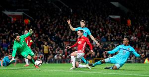 Manchester United's Juan Mata scores his side's second goal of the game during the UEFA Europa League match at Old Trafford, Manchester. PRESS ASSOCIATION Photo. Picture date: Thursday November 24, 2016. See PA story SOCCER Man Utd. Photo credit should read: Martin Rickett/PA Wire