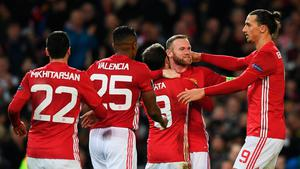 MANCHESTER, ENGLAND - NOVEMBER 24:  Juan Mata of Manchester United (8) celebrates with team mates as he scores their second goal during the UEFA Europa League Group A match between Manchester United FC and Feyenoord at Old Trafford on November 24, 2016 in Manchester, England.  (Photo by Gareth Copley/Getty Images)