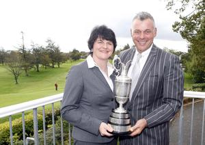 PACEMAKER BELFAST   12/10/2011 Arlene Foster DUP with Open Champion Darren Clarke who was awarded the freedom of the borough of Dungannon pictured at Dungannon Golf Club where he began his career. Photo Colm O'Reilly/Pacemaker Press