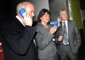 Pacemaker Press 3/7/2012  First Minister Peter Robinson and Deputy First Minister Martin McGuinness with Tourism Minister Arlene Foster   during the opening of the New Visitors centre at the Giants Causeway in Co Antrim Yesterday,  The £18.5m building has taken 18 months to complete and includes exhibition spaces, a cafe and shops. Walks and trails around the site have also been upgraded, with the addition of a new accessible cliff-top walk for families and people with disabilities .PIcture Colm Lenaghan/ Pacemaker