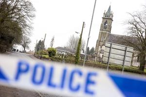 PACEMAKER BELFAST   11/02/2015 Two men have been shot and injured at a wedding in Newtownbutler in County Fermanagh. It happened in the grounds of St Mary's Catholic church shortly after 13:00 GMT. Two people are being treated at Enniskillen's South West Acute hospital. There is no detail as yet on their conditions. The Church of the immaculate Conception and St. Mary's Primary school in the distance beyond.