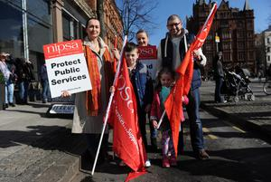 Public Service Rally - Belfast City Centre - 13th March 2015 Presseye Declan Roughan  VoxPop Belfast Telegraph  (L-R) Clare Mc Donnell, Ciara and David Macleish with their children Piaras (left) and Eva