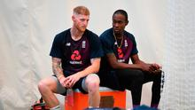 Gearing up: Ben Stokes (left) and Jofra Archer during a nets session